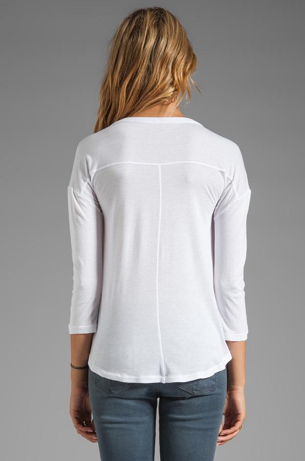 Splendid Long Sleeve Jersey Pocket Blouse