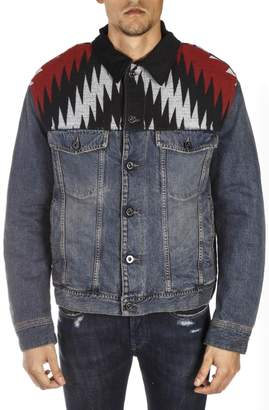 Diesel Black Gold Denim Cotton Jacket With Contrasting Embroideries