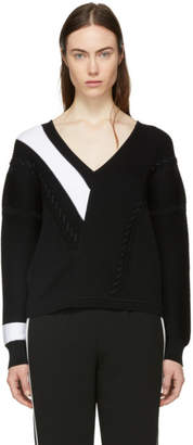 Rag & Bone Black and White Cricket V-Neck Sweater