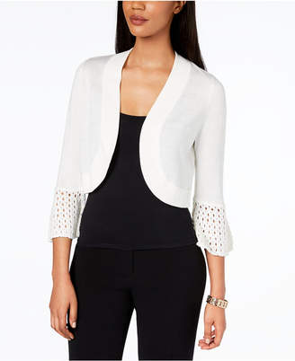 Jessica Howard Crochet-Sleeve Shrug Cardigan