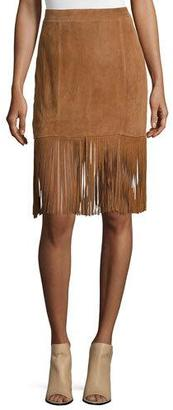 Cusp by Neiman Marcus Suede Skirt W/Fringe Trim, Saddle $360 thestylecure.com