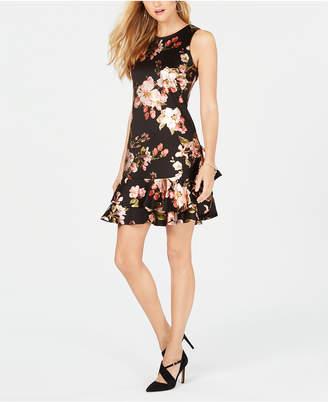 Robbie Bee Petite Ruffled Floral-Printed Drop-Waist Dress