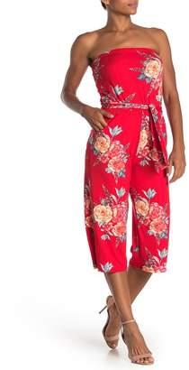 Velvet Torch Strapless Floral Cropped Jumpsuit