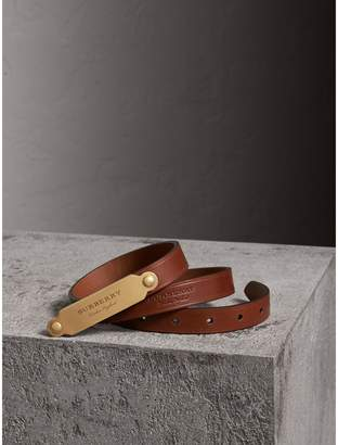 Burberry Brass Plaque Buckle Embossed Bridle Leather Belt , Size: 85, Brown