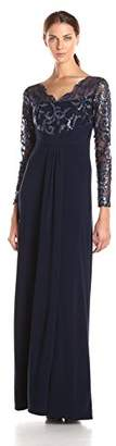 Marina Women's Long Jersey Gown with Scallop Lace Bodice $16.85 thestylecure.com