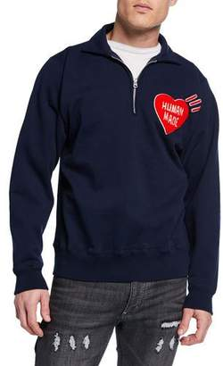 HUMAN MADE Men's Quarter-Zip Logo-Graphic Sweater