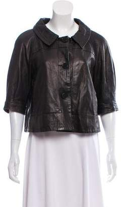 Theory Leather Short Sleeve Jacket