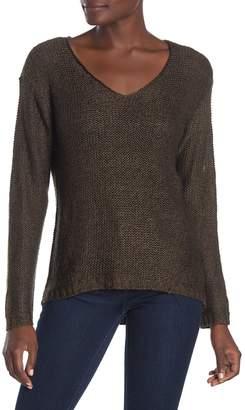 Modern Designer V-Neck Elbow Patch High/Low Sweater