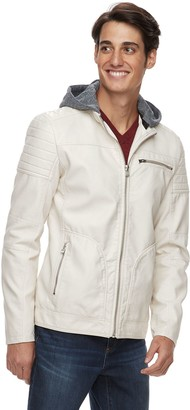 X-Ray Xray Men's XRAY Slim-Fit Hooded Faux-Leather Moto Jacket