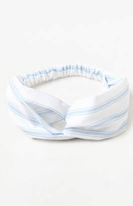 La Hearts Blue & White Striped Turban