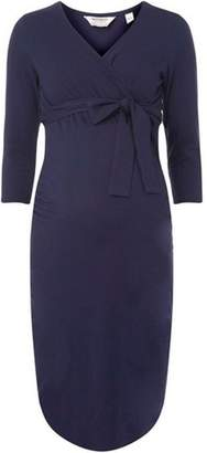 Dorothy Perkins Womens **Maternity Navy Ruched Wrap Dress