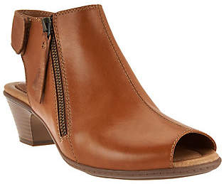 Earth Leather Peep-toe Booties- Kristy