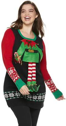 It's Our Time Its Our Time Juniors' Plus Size Elf Outfit Tunic Christmas Sweater