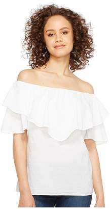 Heather Maria Twill Voile Ruffle Off the Shoulder Top Women's Clothing
