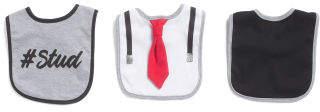 Baby Boys 3pk Tie & Suspenders Bibs
