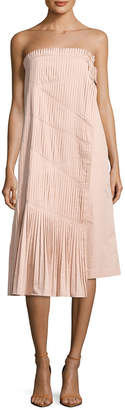 Tibi Poplin Manuela Pleat Flared Dress