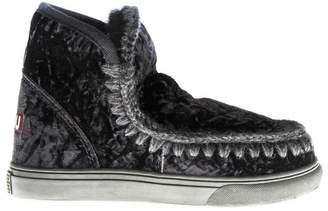 Mou Black Wool & Velvet Sneakers Boots