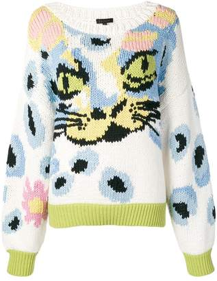 Escada cat face knit sweater