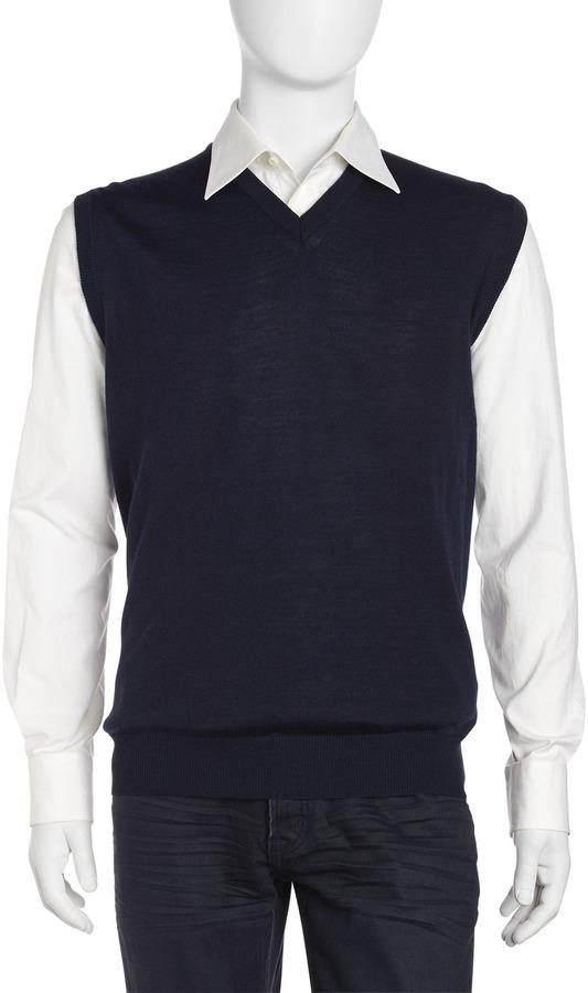 Neiman Marcus V-Neck Sweater Vest, Midnight