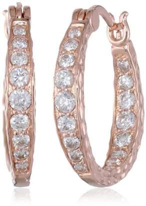 """Plated Sterling Silver Cubic Zirconia Hammered Hoop Earrings (0.82"""" Diameter) (2 cttw)"""