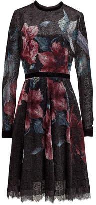 Elie Saab Printed Velvet Dress with Silk