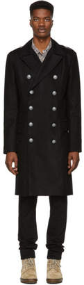Balmain Black Double-Breasted Coat