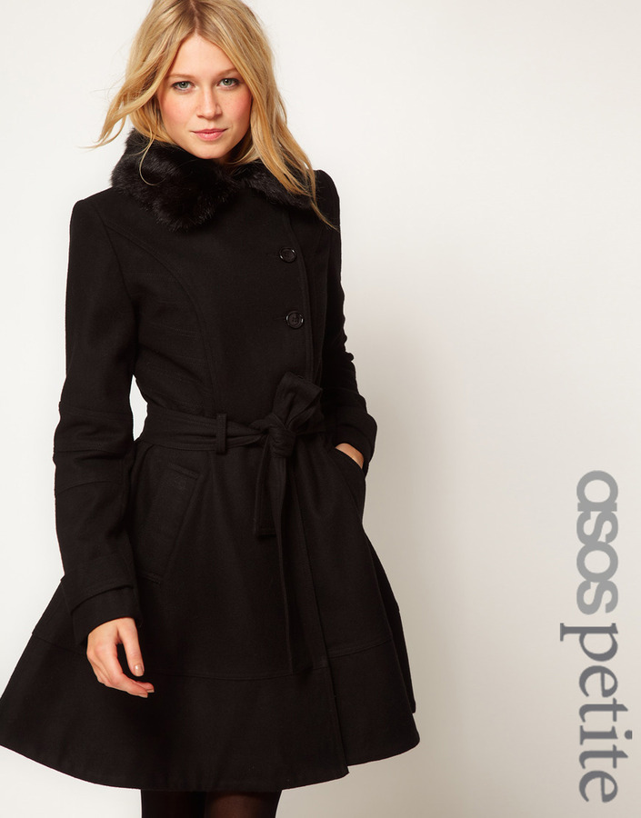 Asos Fur Collar Fit And Flare Coat