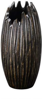 Villacera Handmade 12 Tall Round Mango Wood Black Tulip Vase