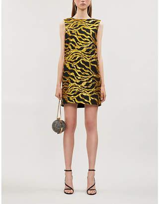 Halpern Sequin-embllished woven shift dress