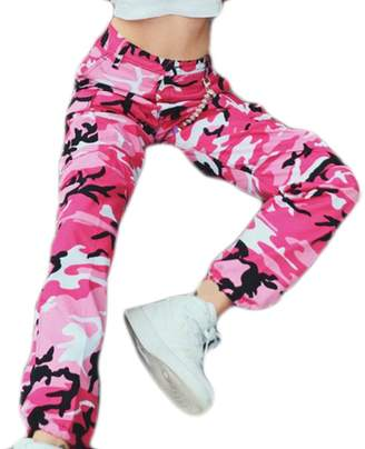 Domple Womens Camouflage Print Pockets High Waist Denim Long Harem Pants XS