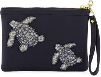 Tea & Tequila Vegan Turtle Clutch Bag, Navy