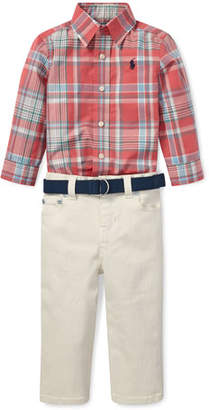 Ralph Lauren Childrenswear Plaid Poplin Collar Shirt w/ Twill Pants & D-Ring Belt, Size 6-24 Months