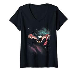 Womens Awesome & Funny Patriotic American Bald Eagle in Space V-Neck T-Shirt