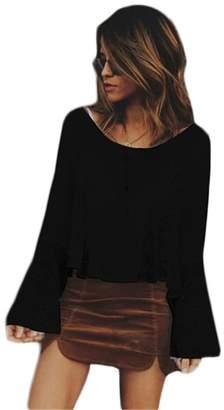 Andaa Womens Crew Neck Chiffon Bell Sleeve Lace Casual Blouses Shirts (XL, )