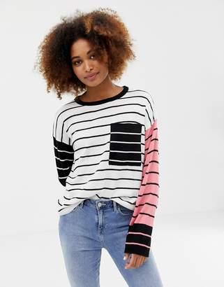 Brave Soul jenga jumper in stripe mix