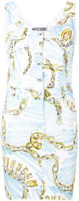 Moschino chain-print denim dress