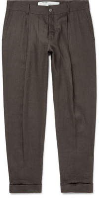 Off-White Wide-Leg Cropped Logo-Embroidered Linen Trousers