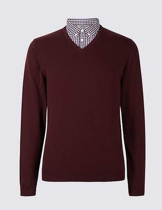 Marks and Spencer Pure Cotton Mock Shirt Jumper