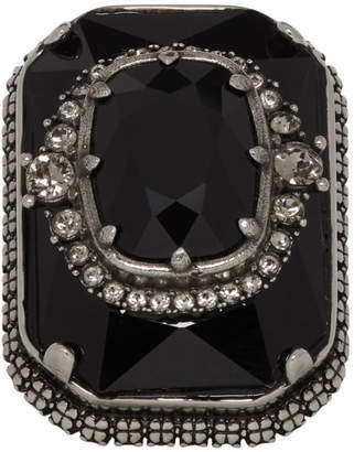 Alexander McQueen Silver and Black Square Jewel Ring
