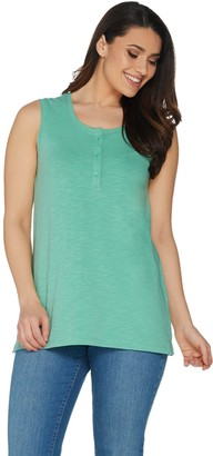 Denim & Co. Essentials Sleeveless Textured Knit Henley Top