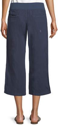Allen Allen Cropped Linen Wide-Leg Pants