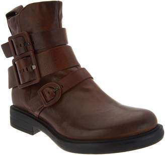 Miz Mooz Leather Triple Buckle Ankle Boots - Casper