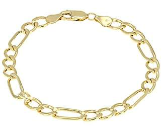 Men's 18k Solid Gold Figaro Chain Link Bracelet