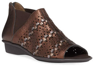 Sesto Meucci Emilia Woven Comfort Metallic Leather Slip-On Sandals