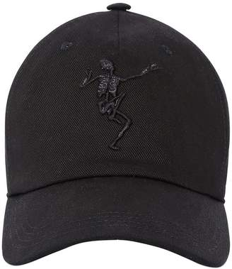 Alexander McQueen Skeleton Embroidered Cotton Canvas Hat