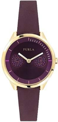 Furla Women's Metropolis Purple Dial Calfskin Leather Watch