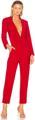 Norma Kamali Single Breasted Jumpsuit in Red $295 thestylecure.com