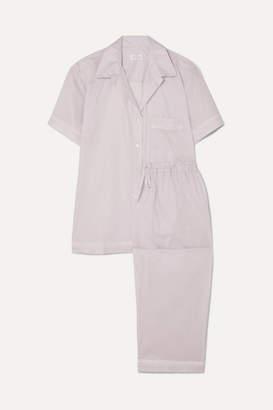 Pour Les Femmes - Crochet-trimmed Cotton-voile Pajama Set - Gray