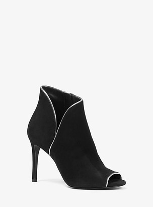 Michael Kors Harper Suede Open-Toe Ankle Boot