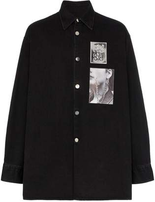 Raf Simons logo print oversized cotton shirt